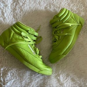 Vintage 80s Reebok Classic Neon Lime Hightop Shoes